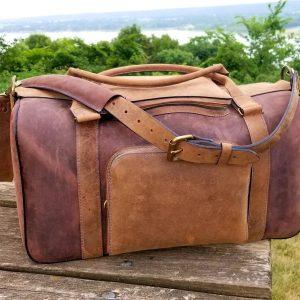 Handmade Leather Duffel bag, weekender bag, overnight bag, carry-on bag